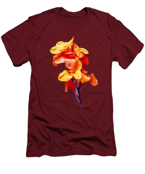 Men's T-Shirt (Slim Fit) featuring the photograph Red Orange Canna Blossom Cutout by Linda Phelps