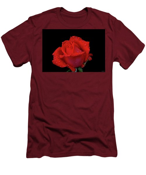 Men's T-Shirt (Slim Fit) featuring the photograph Red Rose 013 by George Bostian
