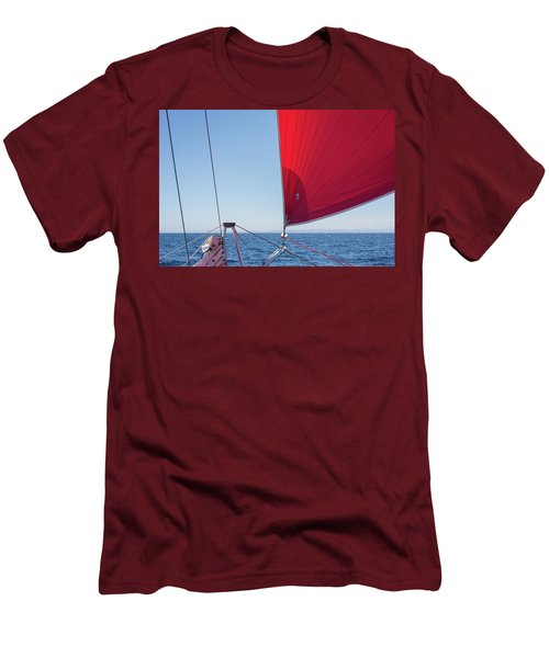 Men's T-Shirt (Athletic Fit) featuring the photograph Red Sail On A Catamaran by Clare Bambers