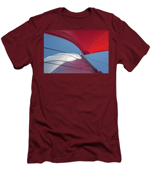 Men's T-Shirt (Athletic Fit) featuring the photograph Red Sail On A Catamaran 3 by Clare Bambers