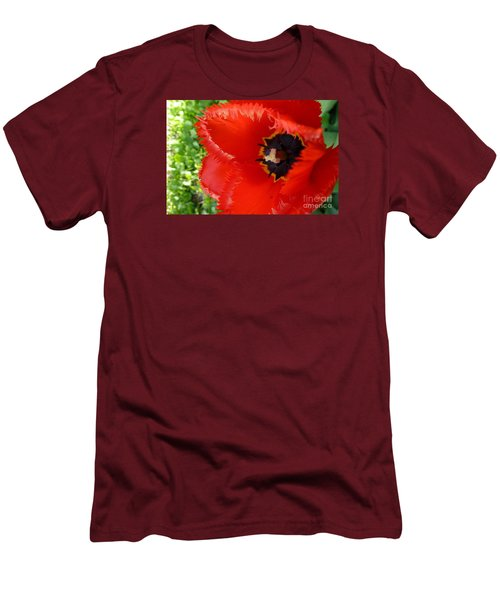 Men's T-Shirt (Slim Fit) featuring the photograph Red Tulip by Jean Bernard Roussilhe