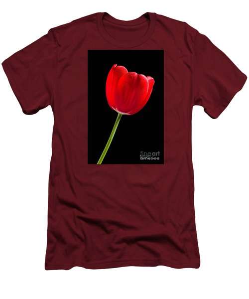 Men's T-Shirt (Athletic Fit) featuring the photograph Red Tulip No. 1  - By Flower Photographer David Perry Lawrence by David Perry Lawrence
