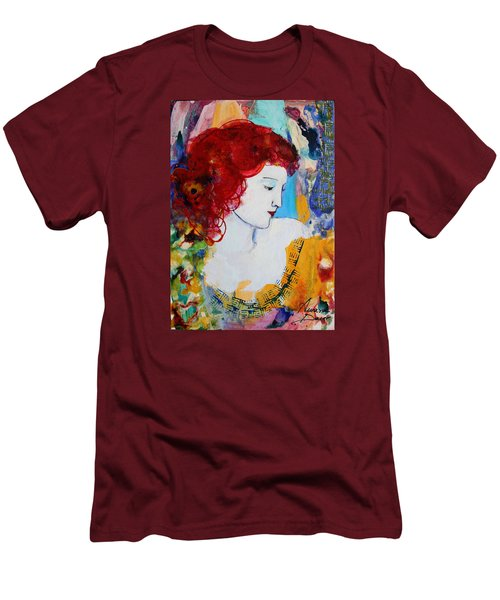 Romantic Read Heaired Woman Men's T-Shirt (Slim Fit) by Amara Dacer