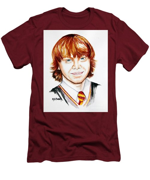 Men's T-Shirt (Slim Fit) featuring the painting Ron Weasley by Maria Barry