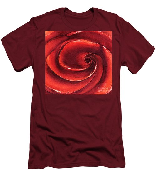Men's T-Shirt (Slim Fit) featuring the painting Rose In Stone by Allison Ashton