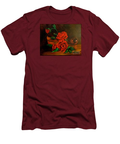 Men's T-Shirt (Slim Fit) featuring the painting Roses Are Red by Jenny Lee