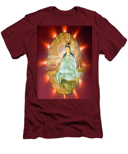 Men's T-Shirt (Slim Fit) featuring the photograph Round Halo Kuan Yin by Lanjee Chee