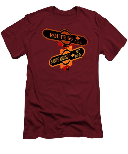 Men's T-Shirt (Slim Fit) featuring the photograph Route 66 Street Sign Stylized Colors by Phyllis Denton