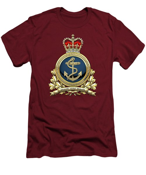 Men's T-Shirt (Slim Fit) featuring the digital art Royal Canadian Navy  -  R C N  Badge Over Red Velvet by Serge Averbukh