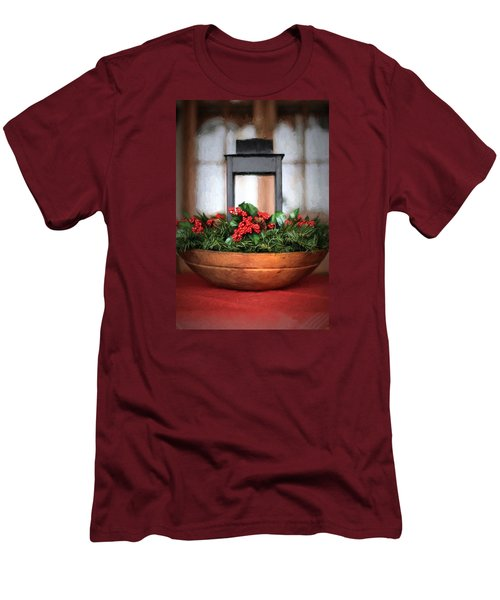 Men's T-Shirt (Slim Fit) featuring the photograph Seasons Greetings Christmas Centerpiece by Shelley Neff