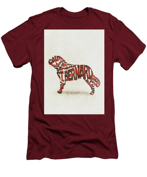 Men's T-Shirt (Athletic Fit) featuring the painting St. Bernard Dog Watercolor Painting / Typographic Art by Ayse and Deniz