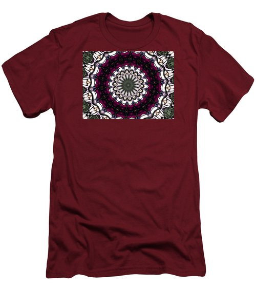 Men's T-Shirt (Slim Fit) featuring the photograph Stained Glass Kaleidoscope 4 by Rose Santuci-Sofranko