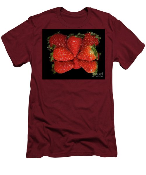 Men's T-Shirt (Slim Fit) featuring the photograph Strawberry by Elvira Ladocki