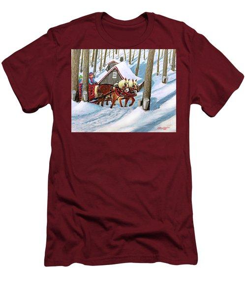 Sugar Bush Sleigh Ride Randonne En Traneau Sucre Men's T-Shirt (Slim Fit) by Patricia L Davidson