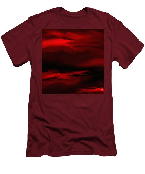Men's T-Shirt (Slim Fit) featuring the painting Sun Sets In Red by Rushan Ruzaick
