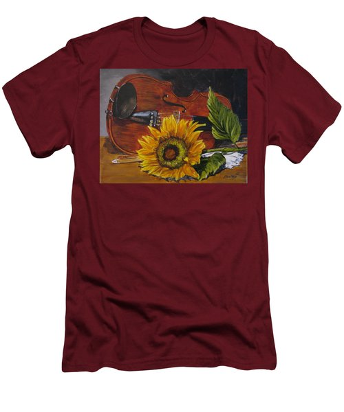 Sunflower And Violin Men's T-Shirt (Athletic Fit)
