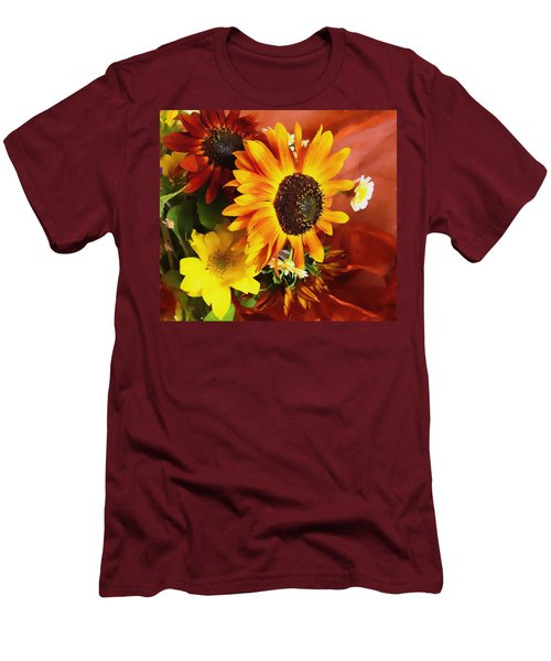 Men's T-Shirt (Slim Fit) featuring the photograph Sunflower Strong by Kathy Bassett