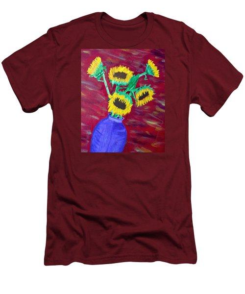 Men's T-Shirt (Slim Fit) featuring the painting Sunflowers In A Purple Vase by Brenda Pressnall