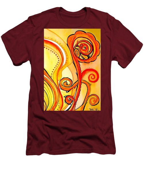 Men's T-Shirt (Slim Fit) featuring the painting Sunny Flower - Art By Dora Hathazi Mendes by Dora Hathazi Mendes