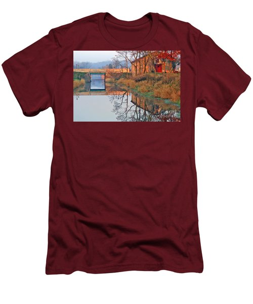 Sunrise On The I And  M Canal Men's T-Shirt (Slim Fit) by Paula Guttilla