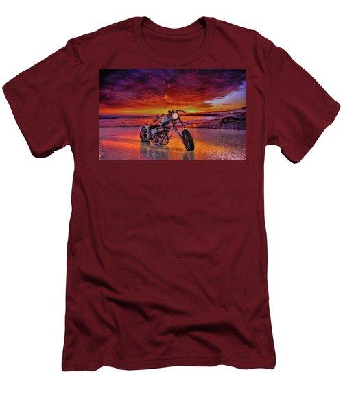 Men's T-Shirt (Slim Fit) featuring the photograph sunset Custom Chopper by Louis Ferreira