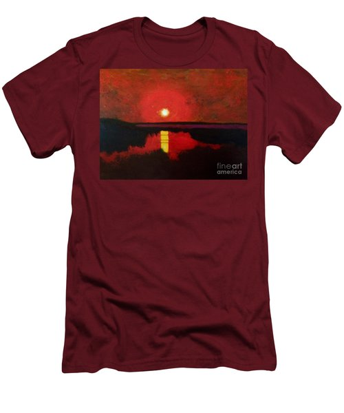 Men's T-Shirt (Slim Fit) featuring the painting Sunset On The Lake by Donald J Ryker III