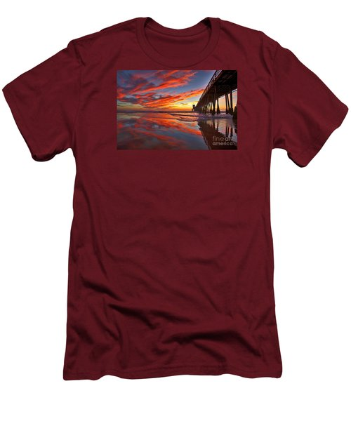 Sunset Reflections At The Imperial Beach Pier Men's T-Shirt (Slim Fit) by Sam Antonio Photography