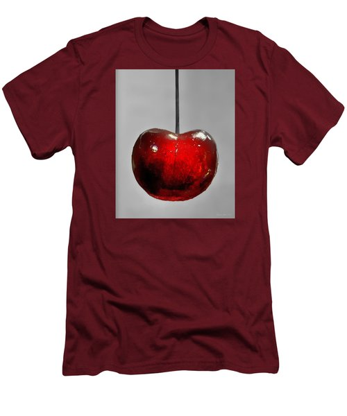 Men's T-Shirt (Slim Fit) featuring the photograph Suspended Cherry by Suzanne Stout