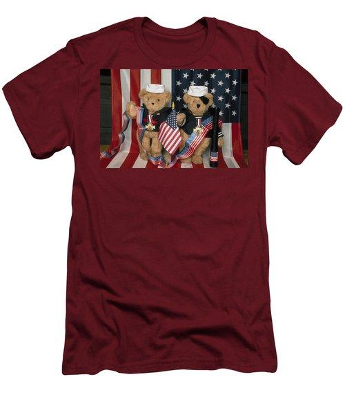 Teddy Bears In America Men's T-Shirt (Athletic Fit)