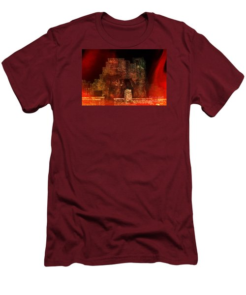 Men's T-Shirt (Slim Fit) featuring the photograph The Ghostly Ruins Of An Elizabethan Fireplace by Linsey Williams