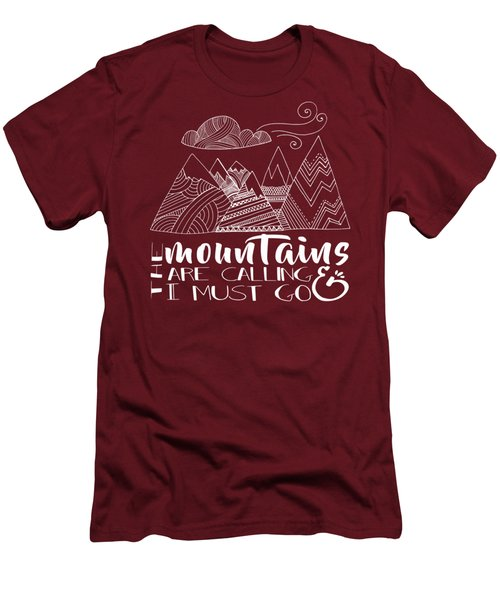 Men's T-Shirt (Slim Fit) featuring the digital art The Mountains Are Calling by Heather Applegate