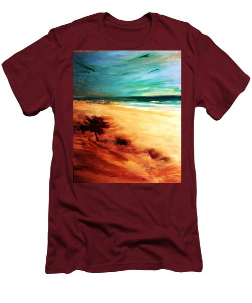 Men's T-Shirt (Slim Fit) featuring the painting The Remaining Pine by Winsome Gunning