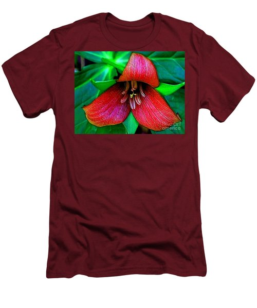 Men's T-Shirt (Slim Fit) featuring the photograph The Trillium by Elfriede Fulda