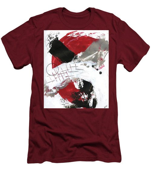 Men's T-Shirt (Slim Fit) featuring the painting Three Color Palette Red 2 by Michal Mitak Mahgerefteh