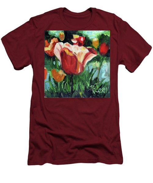 Men's T-Shirt (Slim Fit) featuring the painting Tip Toe Thru The Tulips by Billie Colson
