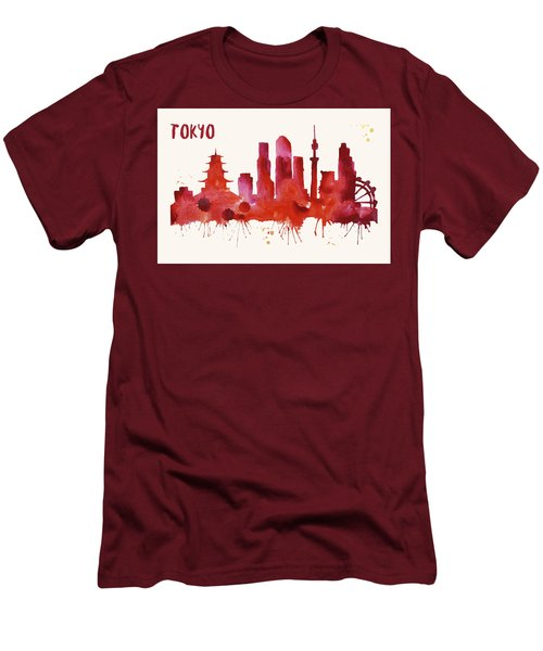 Tokyo Skyline Watercolor Poster - Cityscape Painting Artwork Men's T-Shirt (Slim Fit) by Beautify My Walls