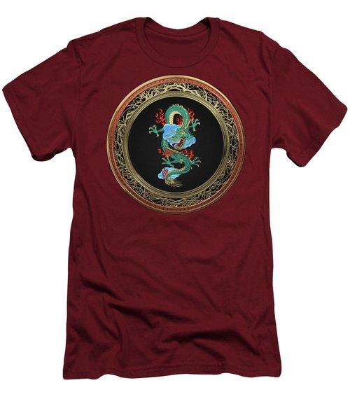 Treasure Trove - Turquoise Dragon Over Red Velvet Men's T-Shirt (Slim Fit)