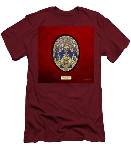 Tsarevich Faberge Egg On Red Velvet Men's T-Shirt (Slim Fit) by Serge Averbukh