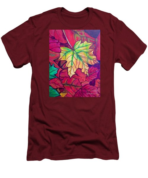Men's T-Shirt (Slim Fit) featuring the painting Turning Maple Leaf In The Fall by Kimberlee Baxter