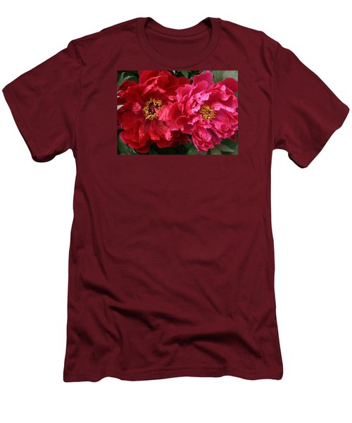 Twin Peonies Men's T-Shirt (Athletic Fit)