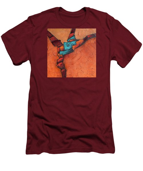 Men's T-Shirt (Slim Fit) featuring the painting Twisting by Nancy Jolley