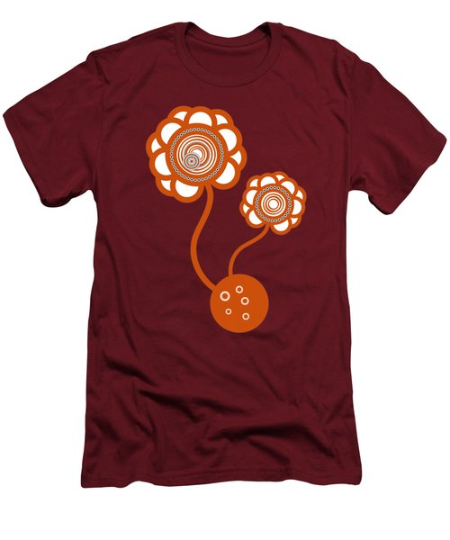 Men's T-Shirt (Slim Fit) featuring the drawing Two Orange Flowers by Frank Tschakert