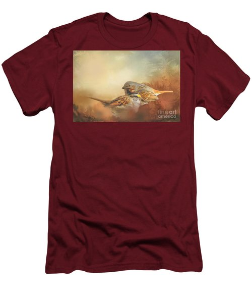 Sparrows In The Marsh 2 Men's T-Shirt (Slim Fit) by Janette Boyd