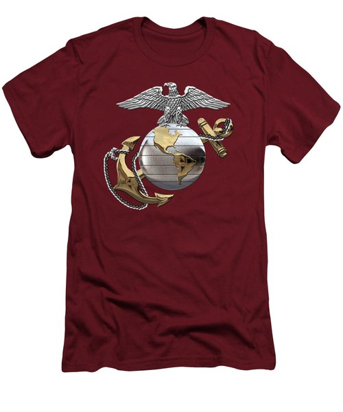U S M C Eagle Globe And Anchor - C O And Warrant Officer E G A Over Red Velvet Men's T-Shirt (Athletic Fit)