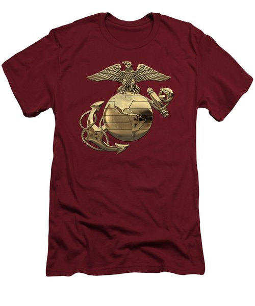 U S M C Eagle Globe And Anchor - N C O And Enlisted E G A Over Red Velvet Men's T-Shirt (Athletic Fit)