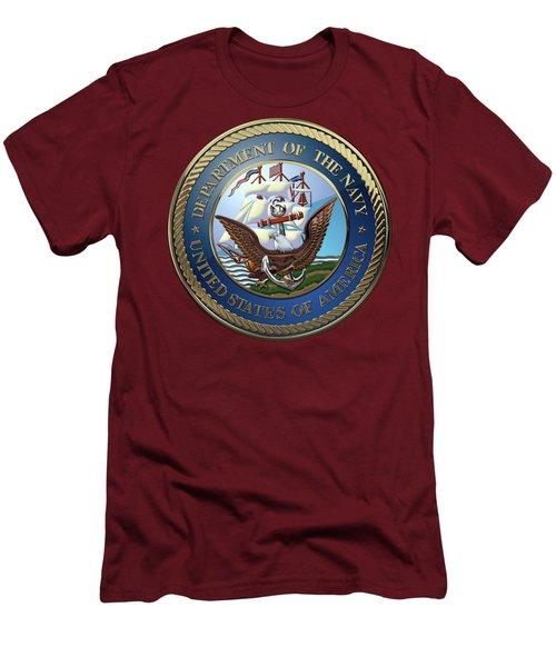 U. S.  Navy  -  U S N Emblem Over Red Velvet Men's T-Shirt (Slim Fit) by Serge Averbukh