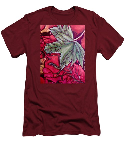 Men's T-Shirt (Slim Fit) featuring the painting Understudy Of A Fallen Green Maple Leaf In The Fall by Kimberlee Baxter