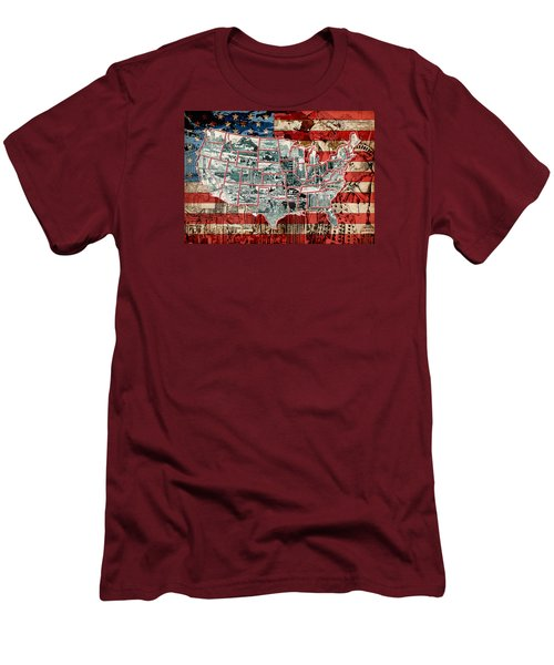 United States Drawing Collage Map 6 Men's T-Shirt (Athletic Fit)