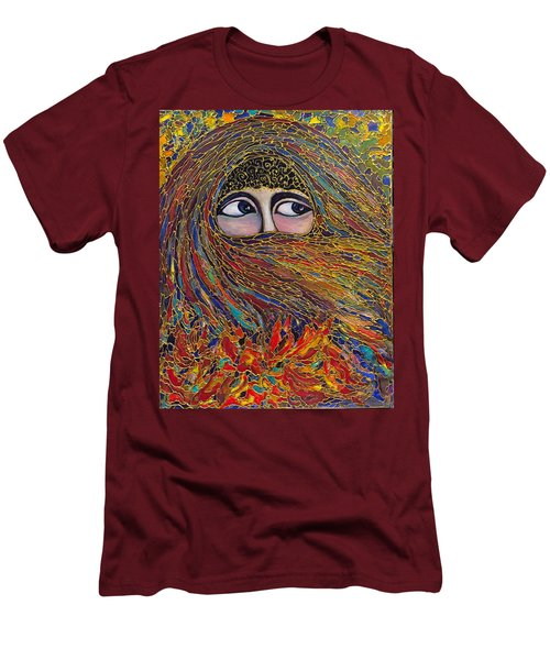 Men's T-Shirt (Slim Fit) featuring the painting Veiled by Rae Chichilnitsky