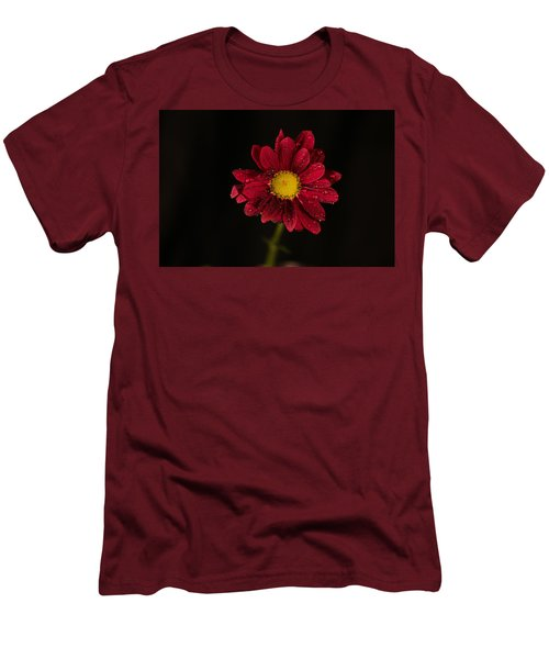 Men's T-Shirt (Slim Fit) featuring the photograph Water Drops On A Flower by Jeff Swan